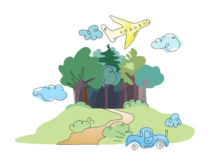 plane voyage colourful fairytale forest Vector