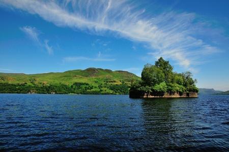 sir walter scott: Factors Isle, Loch Katrine  Stock Photo