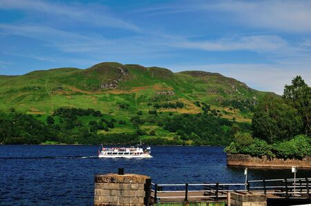 sir walter scott: Boat on a Scottish Loch  Stock Photo
