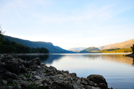A view north up Thirlmere with Helvellyn to the right and Blencathra in the distance. Stock Photo - 23024875