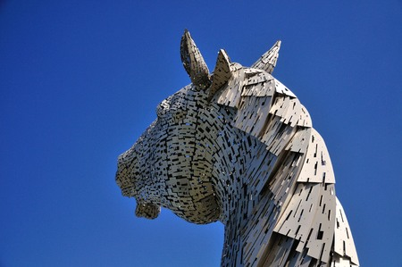 One steel structure of a horses head, built next to the Forth\ & Clyde canal. Named the Kelpies from a mythical powerfull\ horse like creature.\