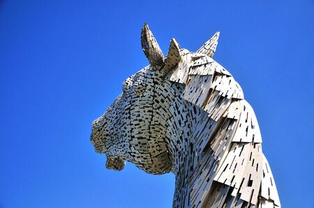 steel head: One steel structure of a horses head, built next to the Forth & Clyde canal. Named the Kelpies from a mythical powerfull horse like creature.
