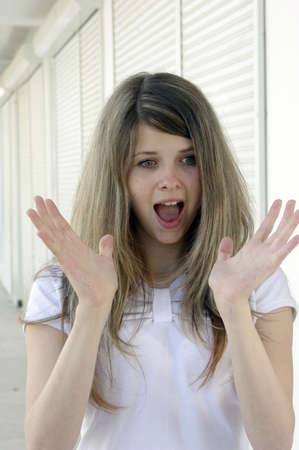 Young lady surprised face expression