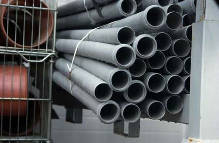 the draining: Stack of draining pipes in a store