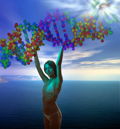 young goddess holding DNA molecule helix  in the blue cloudy sky over sea with supernal flash above. Stock Photo - 9449650