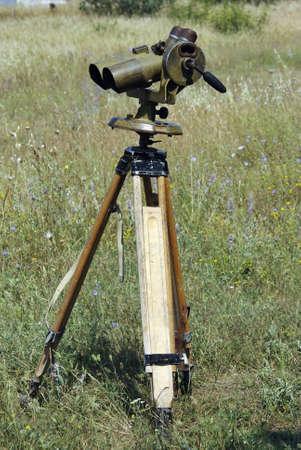 xx century: russian military binoculars on tripod, XX century. Stock Photo