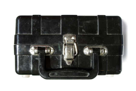 bakelite: bomb in a bakelite suitcase over white isolated Stock Photo