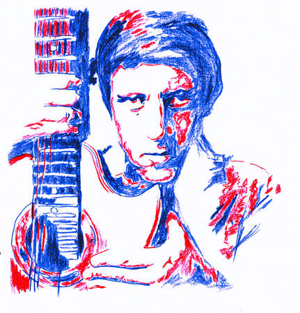 man with acoustic guitar crayon paint