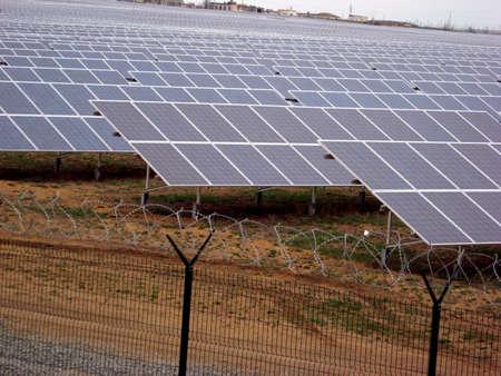 solar power panel energy farm construction Stock Photo
