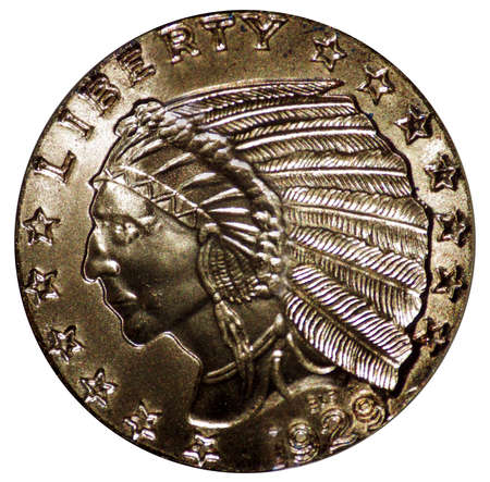 five dollar indian head gold coin incusive isolated photo