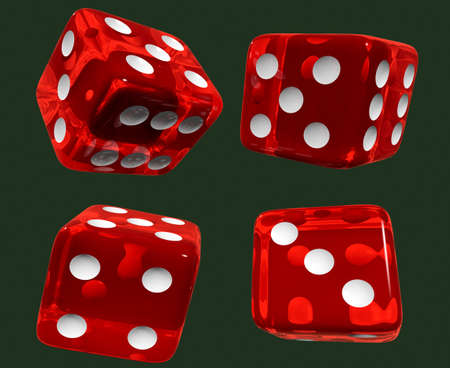 red dices isolated green Stock Photo