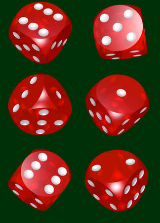 red dices set isolated green