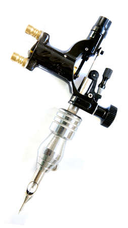 rotary tattoo machine to work over white almost isolated