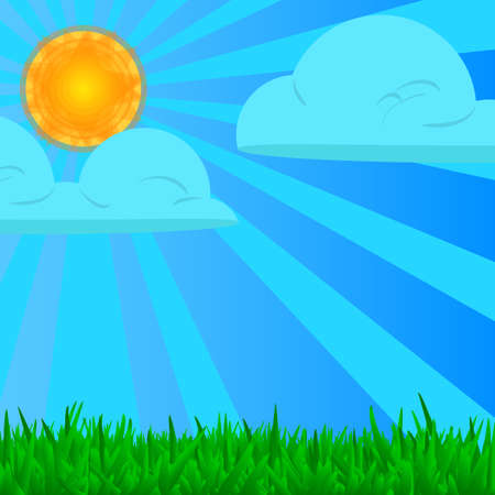 Abstract nature design, Vector illustration. Background with green grass and shining sun.