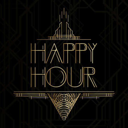 Art Deco Happy Hour word. Golden decorative greeting card, sign with vintage letters. 일러스트