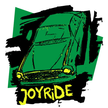 Hand drawn car illustration. Vector T-shirt design with the text joyride.