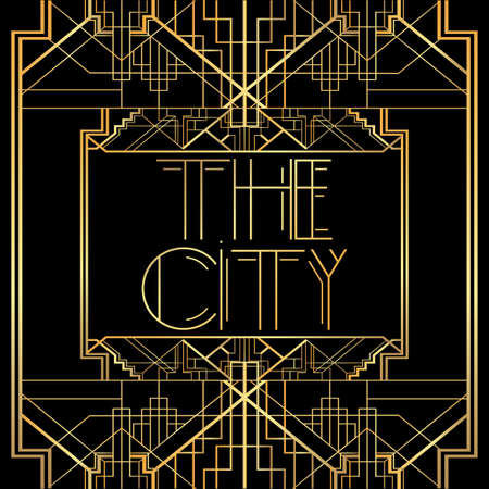 Art Deco The City text. Golden decorative greeting card, sign with vintage letters.