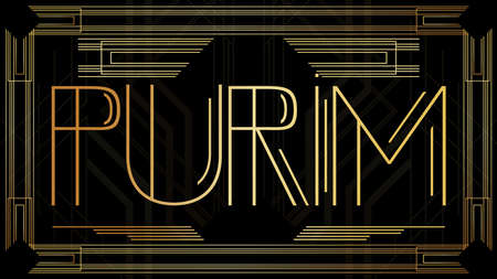 Art Deco Purim poster, Jewish holiday on March 21st. Golden decorative greeting card, sign with vintage letters.