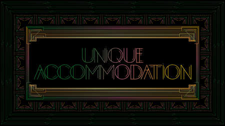 Art Deco Unique Accommodation text. Colorful decorative greeting card, sign with vintage letters.
