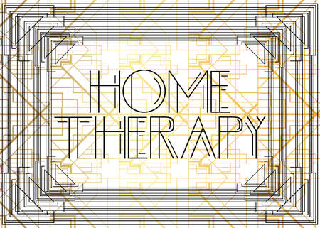 Art Deco Home Therapy text. Decorative greeting card, sign with vintage letters.