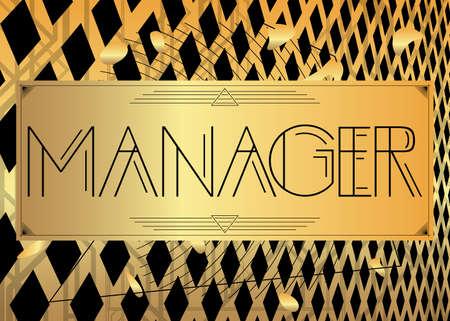 Art Deco Manager text. Decorative greeting card, sign with vintage letters. Vektoros illusztráció