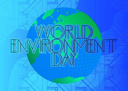 Art Deco World Environment Day (May 5) text. Decorative greeting card, sign with vintage letters. Illusztráció