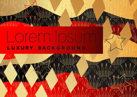 Minimalist black and red premium exclusive background. Vector luxury dark and golden gradient geometric elements.