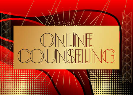 Art Deco Online Counseling text. Decorative greeting card, sign with vintage letters.