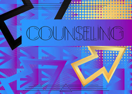Art Deco Counseling text. Decorative greeting card, sign with vintage letters.