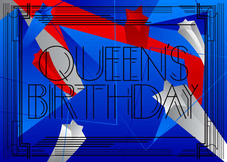 Art Deco Queen's Birthday - New Zealand (June 1) text. Decorative greeting card, sign with vintage letters.