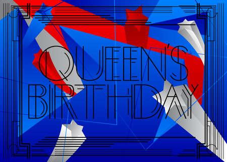 艺术装饰女王的生日-新西兰(6月1日)文本。装饰贺卡,用古老的字母签名。