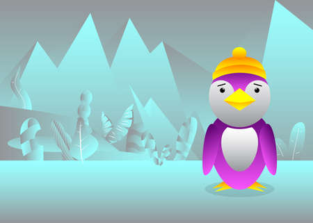 Cartoon penguin on snow-covered plain. Bird on the glacier. Vector illustration.