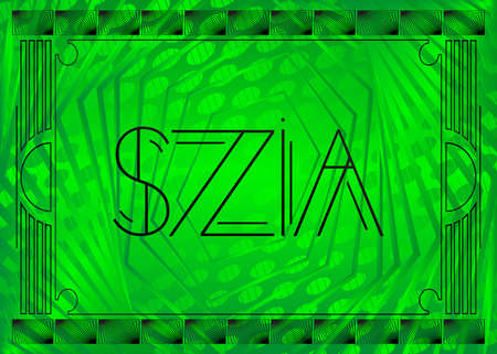 Art Deco Szia (Hungarian, Hello in Hungary) text. Decorative greeting card, sign with vintage letters.