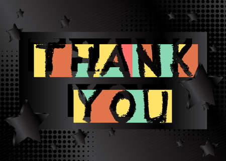 Abstract Thank You text. Vector illustrated grungy style word on geometric background.