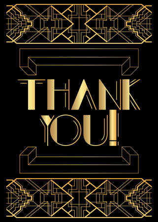 Art Deco Thank You! text. Decorative greeting card, sign with vintage letters.