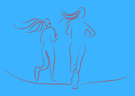 Line drawing illustration of two running women. Sport vector. Red line on blue background. Illustration