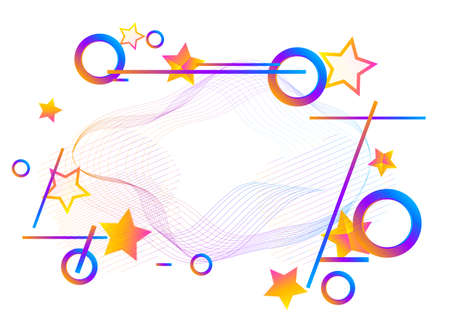 Modern poster template. Abstract background with dynamic linear waves. Creative Wallpaper. Vector illustration in flat style.  イラスト・ベクター素材