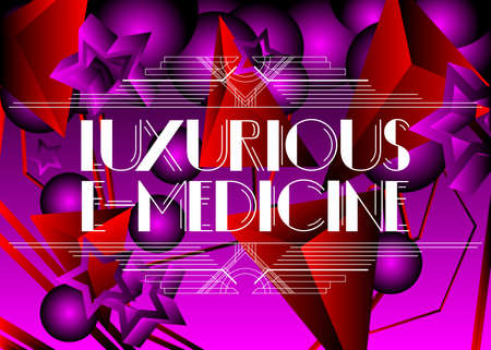 Art Deco Retro Luxurious E-Medicine text. Decorative greeting card, sign with vintage letters.