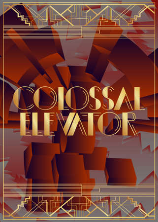 Art Deco Colossal Elevator text. Decorative greeting card, sign with vintage letters.