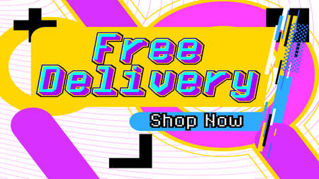 Free Delivery, Shop Now - service banner template design, business poster. Free shipping order promotion. Vector illustration. Store label.