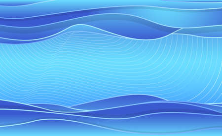 Abstract blue water waves, layered background. Vector illustration template for web banner, poster, postcard. Deep ocean backdrop for greeting card, advertisement etc.