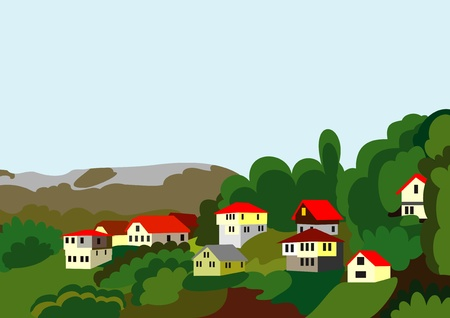 countryside: village houses mountain and forest