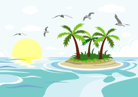 island sea and palm trees