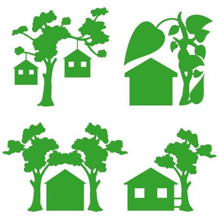 leaf logo: green houses icons