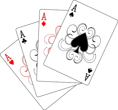 ace hearts: four aces poker playing cards