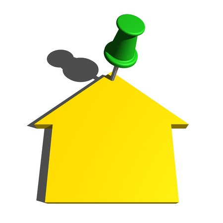 sell: push pin and house