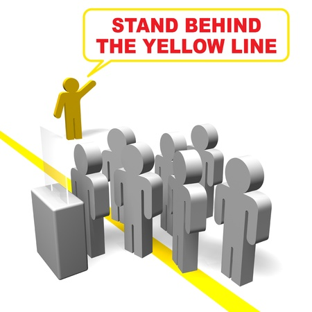 stand behind the yellow line photo