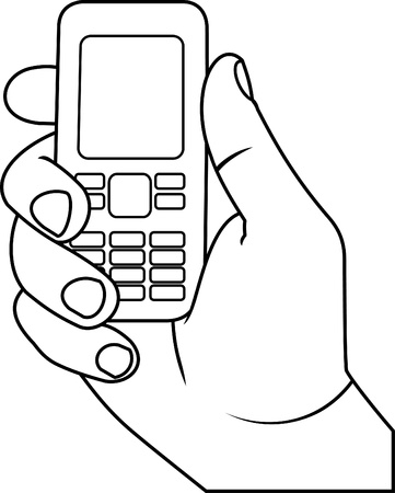 phone icon: hand with a mobile phone