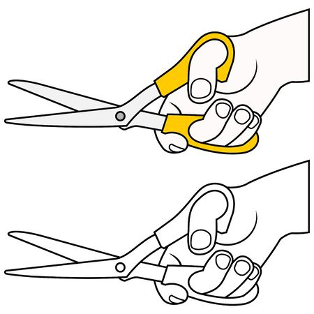 hand with scissors Stock Vector - 9862067