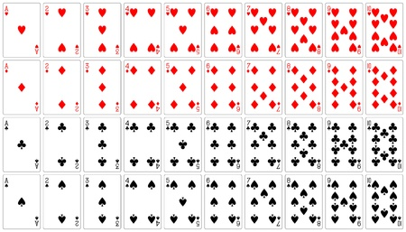 10: playing cards ace to ten 62x90 mm